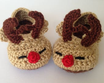 Reindeer toddler slippers. Rudolph slippers. christmas slippers for children. non-slip sole.