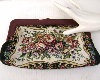 Vintage Tapestry Clutch Handbag, BakeLite, Chic Classic Cloth, Pristine, Petit Point floral, Bride Wedding Prom Collector, Downton Abbey