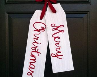 Front Door Decoration - Merry Christmas Door Decor - Christmas Door Tags - Door Hanger