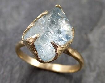 Raw uncut Aquamarine Solitaire Ring Custom One Of a Kind Gemstone Ring Bespoke byAngeline 1096