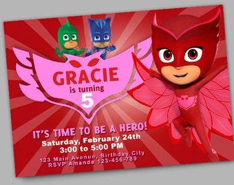 Owlette Birthday Invitation // PJ Masks Birthday Invitation // Digital File Only