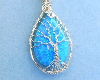 Simulated Opal Tree of Life Necklace in 99.9% silver, Wire Wrapped Synthetic Blue Tree of Life Pendant, Opal Pendant Necklace