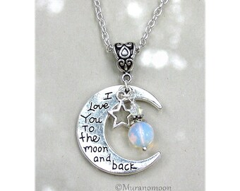 I Love You To The Moon And Back Necklace Pendant Heart Moonstone Gemstone Dangle Charm Necklace I Love You To The Moon Necklace N520
