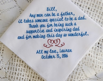 Stepfather Gift Embroidered Wedding Handkerchief- Gift to Dad From Bride