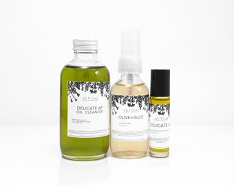 Travel Kit: SENSITIVE SKIN - indie skin care kit, indie skincare, oil cleansing method, double cleansing, oil cleanser, face oil travel kit