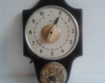 Antique Junghans Bakelite Kitchen Wall Timer 10 Minute Clock 1920/30s -- RARE