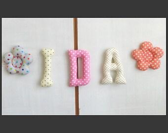Prénom guirlande  *IDA*lettres en tissus