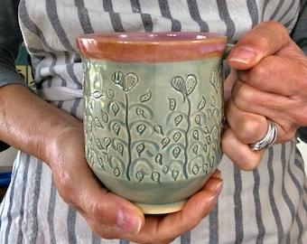 Floral Vine Mug, Pottery Coffee Mug, Heart Mug, Large Pottery Mug, Handthrown Mug, Large Coffee Mug, Pottery Tea Mug, Unique Ceramic Mug