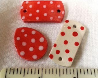 Bracelet connectors, Ceramic, Pendant, Jewellery making set, components, Red and White Spotty, Pottery clay by Honeypuddle