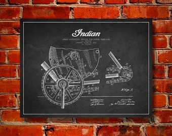 1902 Indian Motorcycle Patent, Canvas Print, Wall Art, Home Decor, Gift Idea