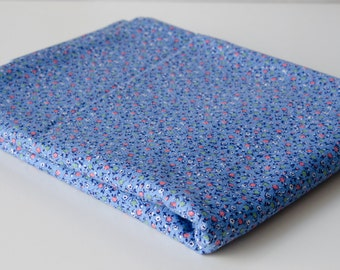 "1/2 yard Vintage Cotton Fabric 35"" Wide - Tiny Sweet Blue Rose Floral - B7"