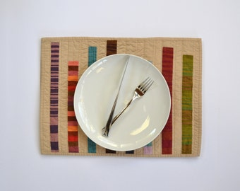 Quilted Placemats, Stripe Placemats, Table Linens, Modern Table Decor, Fall Table Decor