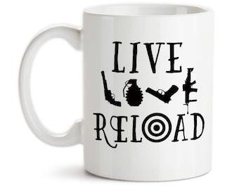 Coffee Mug, Live Love Reload, 2nd Amendment, Gun Rights, Gun Lover, Funny, Humor, Gun Owner, Gift Idea, Large Coffee Cup