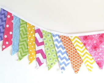 Fabric Bunting Banner Flags, Baby Girl's Nursery, Birthday Party, Photo prop for Cake Smash, Chevron Dots