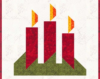 "Christmas Candles Quilt BLOCK Pattern, PDF, Instant Download, modern patchwork, 12"" quilt block"
