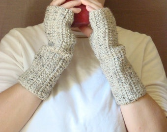 Oatmeal Fingerless Gloves for Men or Women, Crochet Fingerless Gloves, Fingerless Mitens, Arm Warmers, Wrist Warmers - Hoooked MADE TO ORDER