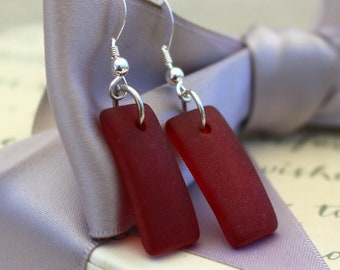 Recycled Glass earrings - Red, Olive or Lilac Cultured sea glass with Sterling Silver