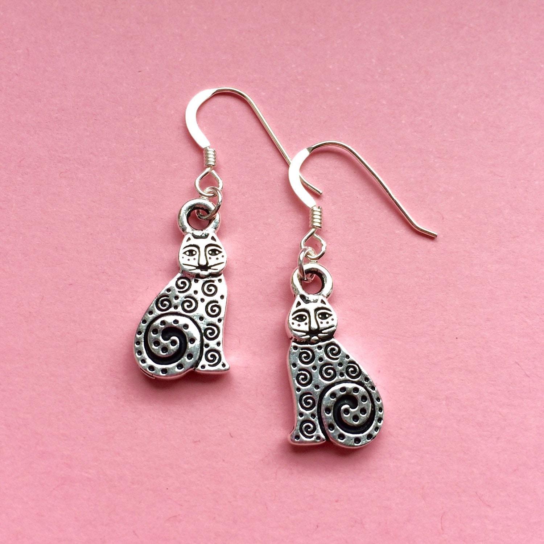 Silver cat earrings Sterling silver earwires dangle cat