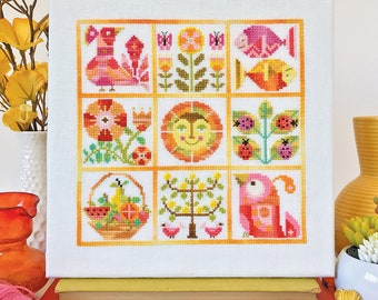 Verano - Satsuma Street Summer sampler - modern folk cross stitch pattern - Instant download PDF
