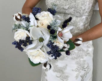 Magnolia Holiday Bridal Bouquet - Faux Flowers
