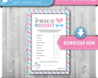 Printable Baby Shower Game, PRICE IS RIGHT, Gender Reveal Theme, Bows or Bowties Gender Neutral, Printable, Instant Download