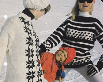 Lot of TWO 60s Vintage Knitting Pattern Leaflets Retro Nordic Knit Ski Sweaters for men & women Originals not PDF