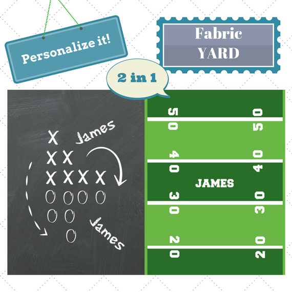 PERSONALIZED Fabric by the Yard - Football Game Day Sports Fabric, Upholstery, Quilting, Linen, Cotton, Minky, Fleece, Organic Cotton, DIY