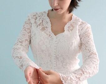 Long Sleeve Lace Bridal Bolero , Ivory white Shrug , Ivory lace Wedding Jacket, Rose lace V neck bridal Top