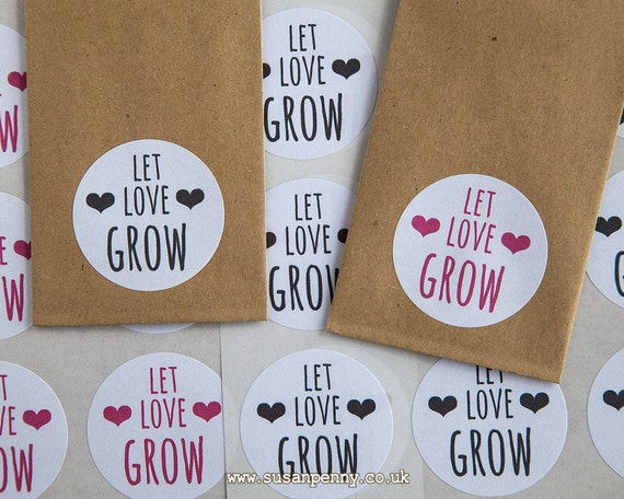 Seed packet sticker wedding favor let love grow seed packet favors rustic wedding favor 40mm 1 1 2in stickers wed15