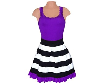 Purple + Black Stripe Scuba Skirt