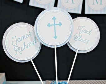 Communion Centerpieces in Light Blue - First Communion Centerpieces - Printable Centerpieces by Printable Studio