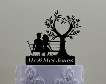 Couple On Bench With Heart Tree Cake Topper. Hipster Couple, Personalized with Your Name or Phrase.