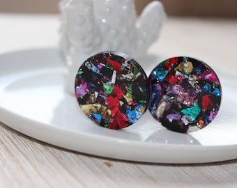 Colourful 3cm circle earrings - hypoallergenic backs for sensitive ears!