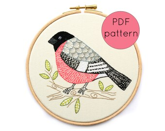 PDF Instant Download Embroidery Pattern, Bullfinch Bird Hand Embroidery Hoop Art Pattern