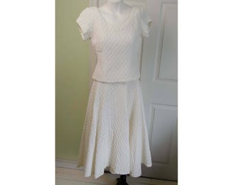 Vintage 1950's Ivory White Quilted Lounging Set Skirt Top
