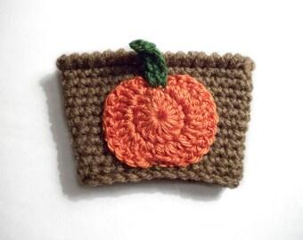 Pumpkin Coffee Cozy, Fall Coffee Sleeve, Crochet Coffee Cozy