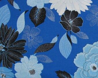 Blue, White and Black Floral on Blue 100% Cotton Quilt Fabric, Blue Brilliance Floral by Greta Lynn for Kanvas Studio, KAS8805P-55