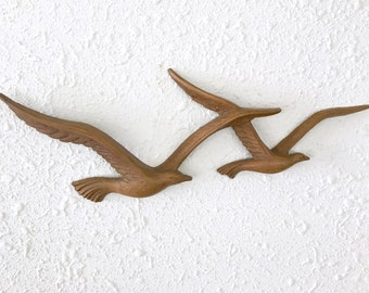 Vintage Wall Hanging Seagulls , Syroco Birds, Coastal Decor
