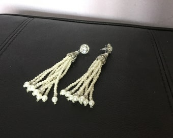 Pearl tassel earrings and diamonte  gatsby art deco