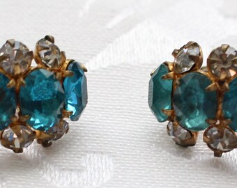COE # 104 Vintage Gold Tone Clip On Earrings with Five Oval Turquoise Crystal Rhinestones and Eight Clear Crystals Marked Hong Kong