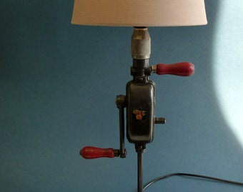 table lamp vintage hand drill