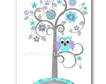 Lavender Gray Aqua Tree Nursery Print Owl Nursery Baby Room Decor Baby Nursery Decor Baby Girl Nursery Decor Kids Wall Art Kids Art