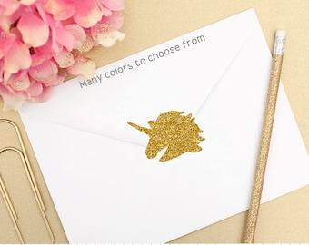 Gold Glitter Unicorn Stickers, Unicorn Envelope Seal, Glitter Unicorn Stickers, Unicorn Party Decorations, Unicorn Invitation Sticker