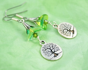Forest Bellflower and Green Leaves Spiral Tree of Life earrings