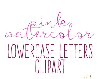 LS Pink Watercolor lowercase Alphabet Clipart