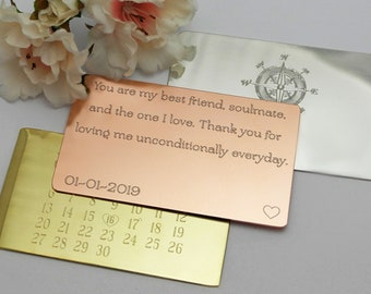 Copper Wallet Card Insert Engraved Wallet Card 1st Anniversary Gift Wallet Insert Card Mens Anniversary Gift for Him Weddings Husband Gift