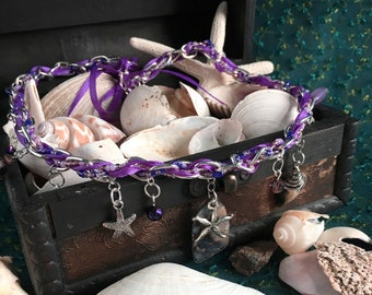 mermaid necklace, charm & ribbon necklace, purple, abalone shell necklace, mermaid collection