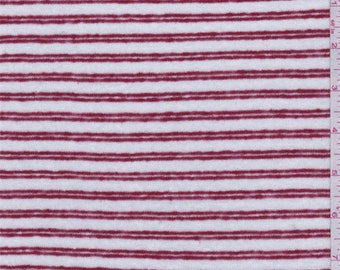 White/Ruby Stripe Sweater Knit, Fabric By The Yard