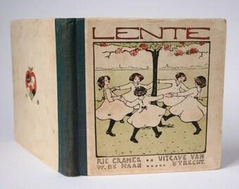 Children's book, Spring, Lente, Dutch nursery  rhymes book, 1920's,