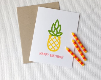 Pineapple Happy Birthday Card (Gocco Printed)